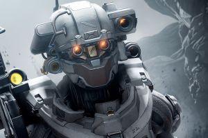 face sniper rifle mech master chief science fiction halo 5 armor video games halo gun digital art helmet soldier robot linda-058