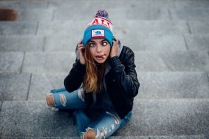 face stairs woolly hat women jeans marta piekarz blue eyes open mouth tongues black blue clothing model torn jeans