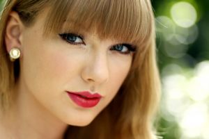 face taylor swift red lipstick singer looking at viewer women closeup blue eyes blonde ear studs