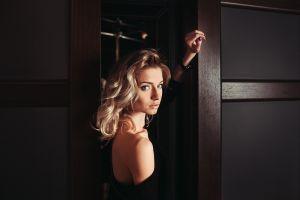 face women blonde blue eyes portrait model bare shoulders