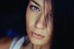 face women brunette eyes