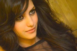 face women eyeliner smiling indian closeup gray eyes long hair teen  brunette