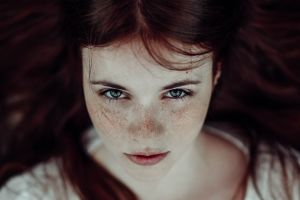 face women freckles blue eyes redhead long hair looking at viewer
