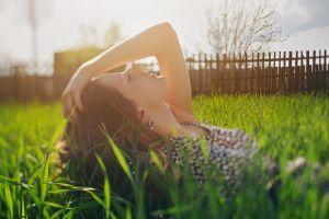 face women model grass sunlight