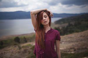 face women women outdoors redhead piercing portrait closed eyes