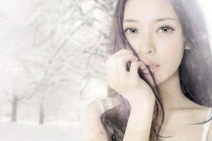 fake iris women long hair finger on lips brunette asian overexposed