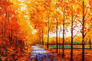 fall forest painting stream oil painting trees