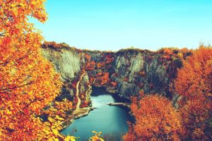 fall water canyon nature trees leaves landscape lake