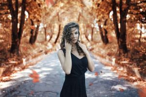 fall women black dress