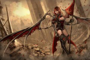 fantasy art armored flag anime boobs fantasy girl anime girls 2015 (year) wings