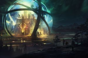 fantasy art artwork city sphere digital art