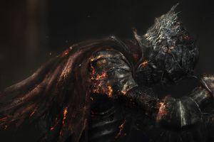 fantasy art artwork dark souls death sword knight warrior video games from software fire digital art armor dark souls iii