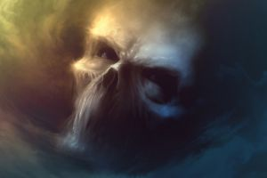 fantasy art artwork digital art skull sky clouds