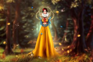 fantasy art artwork snow white birds