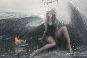 fantasy art barefoot wlop angel white hair anime girls legs black dress fantasy girl lantern rain cats anime