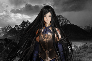 fantasy art castlevania: order of ecclesia shanoa (castlevania) black hair castlevania video game girls video games mountains