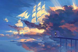 fantasy art clouds airships