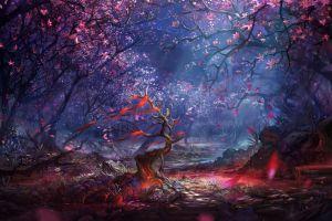 fantasy art digital art nature forest trees landscape artwork colorful