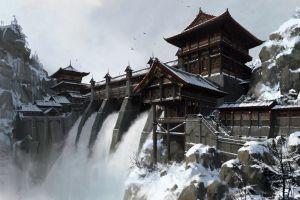 fantasy art digital art snow dam artwork chinese architecture building