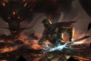 fantasy art dragon knight