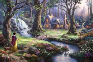 fantasy art fairies stream path flowers rabbits painting house sun rays snow white artwork waterfall trees bridge castle