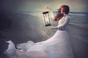 fantasy art hourglasses women sea white dress