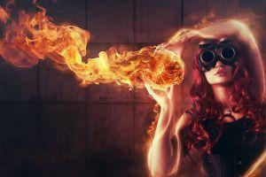 fantasy art long hair burning redhead fire women