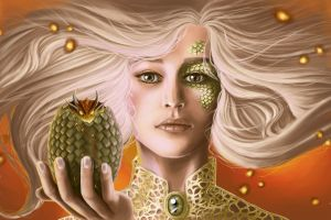 fantasy art long hair dragon blonde artwork fantasy girl