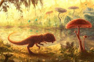 fantasy art painting the elder scrolls iii: morrowind creature trees digital art video games nature mushroom fan art