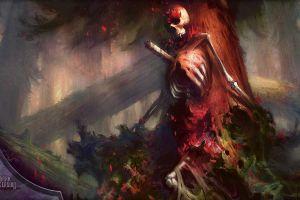 fantasy art skeleton artwork forest skull trees bones