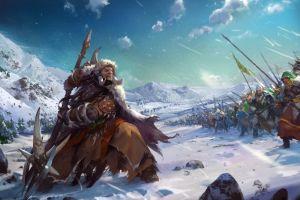 fantasy art sky winter 2015 (year) snow artwork warrior mountains