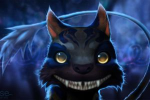 fantasy art teeth cats blue background