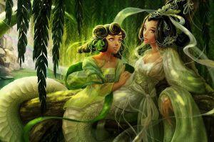 fantasy art vines tentacles lamia artwork mythology