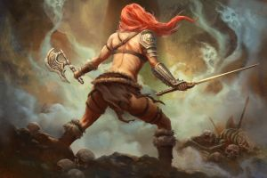 fantasy art warrior axes