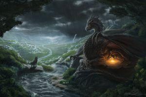 fantasy art wolf river dragon