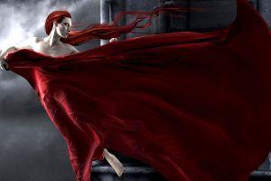 fantasy art women red