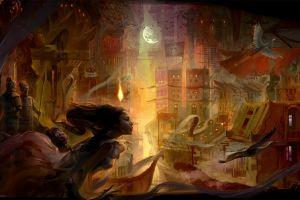 fantasy city fantasy art artwork fantasy girl