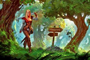 fantasy girl blonde fantasy art sword forest