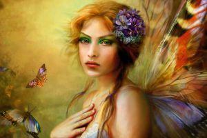 fantasy girl butterflies women artwork fantasy art flower in hair wings