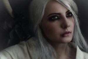 fantasy girl ciri cirilla fiona elen riannon cirilla white shirt the witcher cosplay white hair green eyes the witcher 3: wild hunt