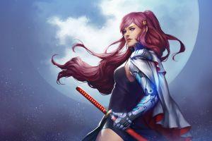 fantasy girl fantasy art redhead moon