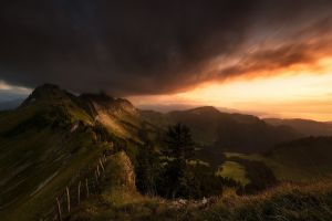 fence mountains landscape trees valley nature switzerland sky grass clouds sunset