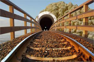 fence tunnel railway train