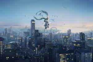 ferris wheel birds hatsune miku sky vocaloid cityscape