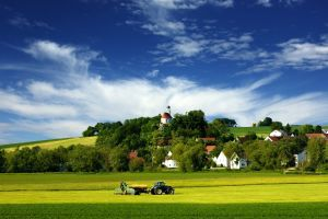 field forest trees nature house villages tractors church countries hills