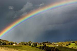 field landscape rainbows sky