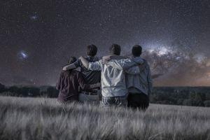 field night sky social gathering group of people