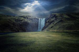 field sun rays waterfall hills nature clouds landscape