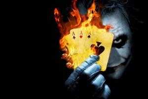 fire playing cards joker movies heath ledger batman the dark knight