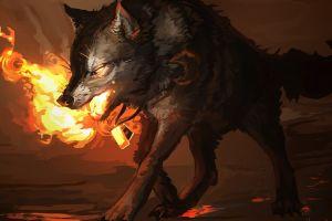 fire wolf fantasy art